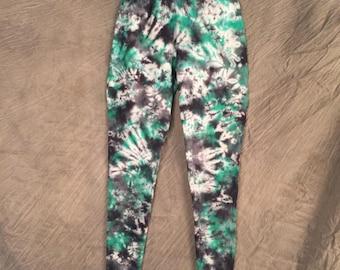Abstract Leggings, Tie Dye Leggings, Womens Medium, Tye Dye Legging, Colorful Leggings, Fun Legging, Green Pants, Cute Yoga Pant, D0417179