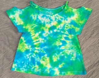 Girl's Cutout Top, Girls Size 4, Cold Shoulder Shirt, Girls Tie-Dye Shirt, Cute Tie-Dye Top, Kids Tye Dye, Kids Colorful Shirt, C0717277
