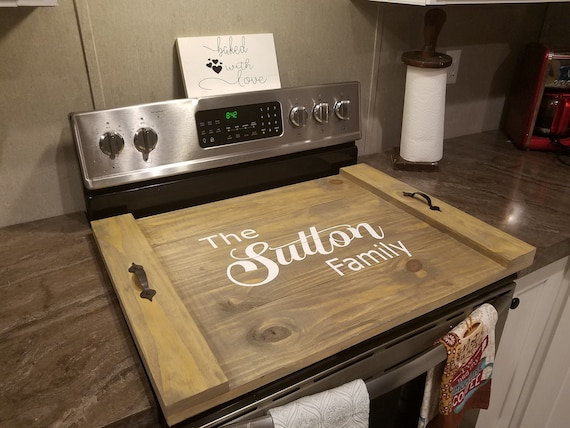 Custom Farmhouse Noodle Board Stove Top Cover Serving Tray