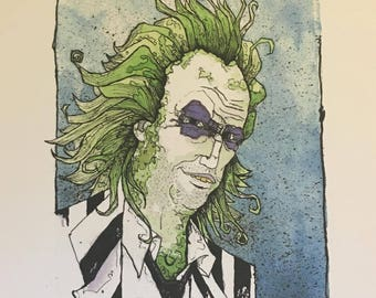 Beetlejuice Watercolor Print