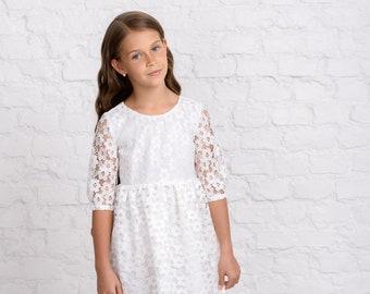 ce75adbd9 White lace flower girl dress, lace communion dress, lace junior bridesmaid  dress