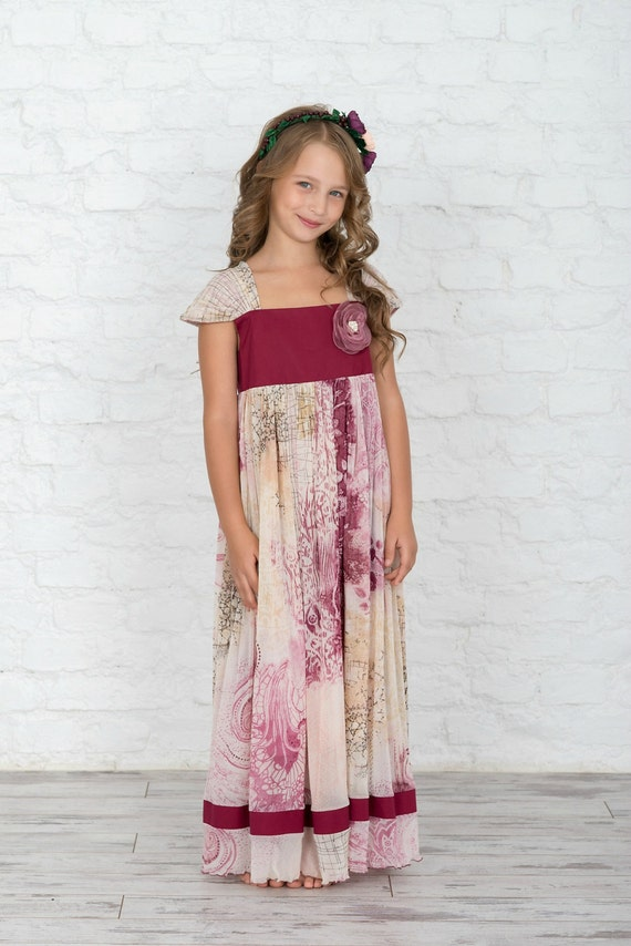measure to girl blush floaty dress flower chiffon Made in 5g1dqUqw