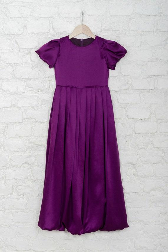 measure puff silk length dress dress made purple for sleeve purple to wedding girls Floor WTfx66