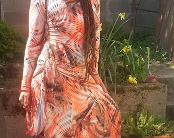 Long coral dress, spring dress, long-sleeved dress, soft and colorful ribe