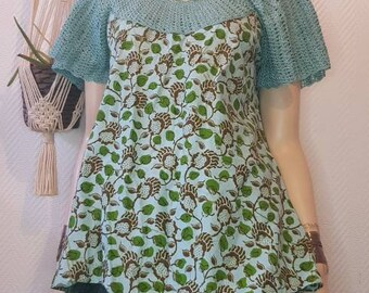 Printed short sleeve top, summer top, women's top, boho,crochet,wax