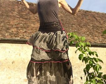 Skirt was long, soulful Gypsy skirt, black grey skirt, fairy, Bohemian style skirt, festival, burning man, printed skirt