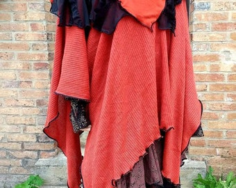 Nice poncho mesh mohair color rust and black