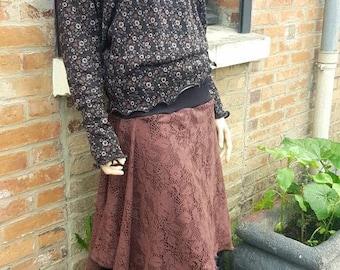 Black/brown two-tone stretch stretch long skirt