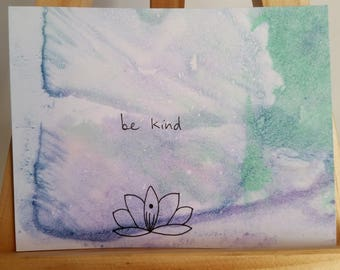 Hand Lettered Watercolor Affirmation Cards - Be Kind