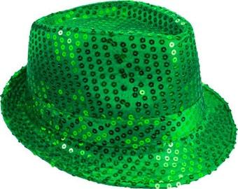 b36137c0cd2b42 Sequin Unisex Fedora Hat GREEN