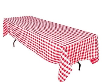 ON SALE Red And White Checkered Polyester Tablecloth   FREE Ship
