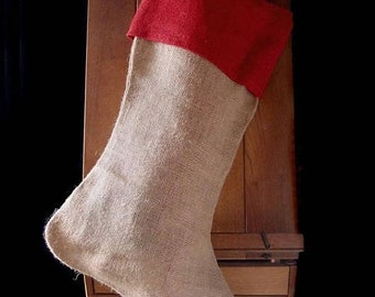 ON SALE Pack of 6 - Burlap Christmas Stocking Red Cuff 24 inch - Free Shipping