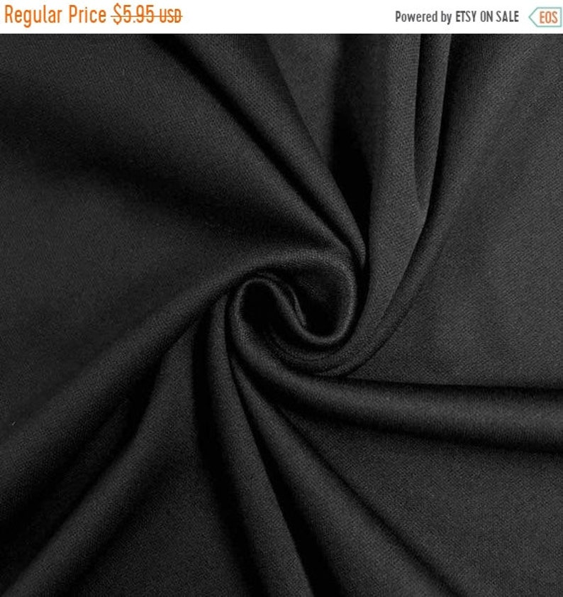 BLACK ON SALE Interlock by the yard polyester knit lining fabric by yard 60 wide 70 Denier