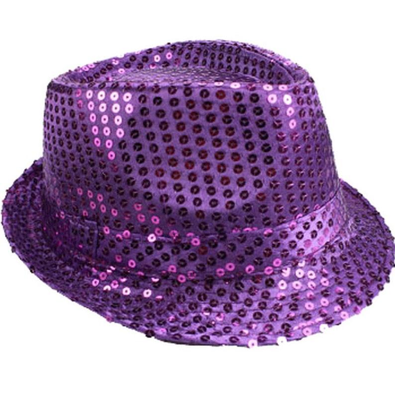 a7a6ea103e5a8 Sequin Unisex Fedora Hat PURPLE Mardi Gras Hat