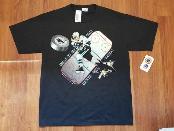 San Jose Sharks Shirt (VTG) - Shark Fin Unsafe Ice Graphic - By Starter - Mens L DgiGLB0c