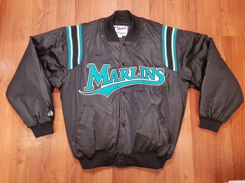 1bae774e9d0 Vintage 90s MLB Florida Marlins Majestic Satin Bomber Jacket