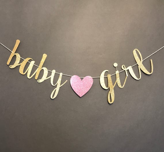 baby girl banner baby girl sign gender reveal decor its a etsy