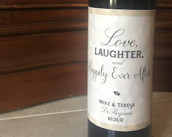Wedding Personalized Wine Label - Love, Laughter and Happily Ever After