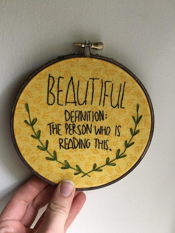 Definition Of Beautiful Embroidery Hoop Wall Art Handmade