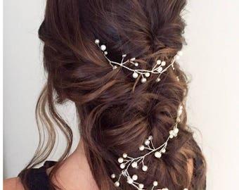 Wedding Hair Vine, wedding hair accessory, Bridal Hair piece, wedding head piece, pearl hair vine.Boho hair accessory .