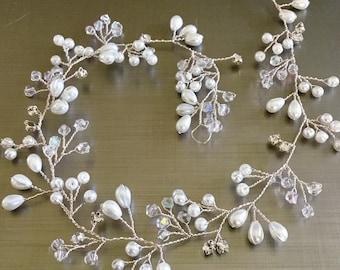 Boho hair vine,Bridal hair vine ,Pearl and Sworovski crystal, Bridal  Hair Piece, Bridal hair vine , wedding hair  accessories, wedding hair