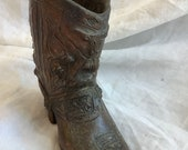 Antique copper Western boot vessel