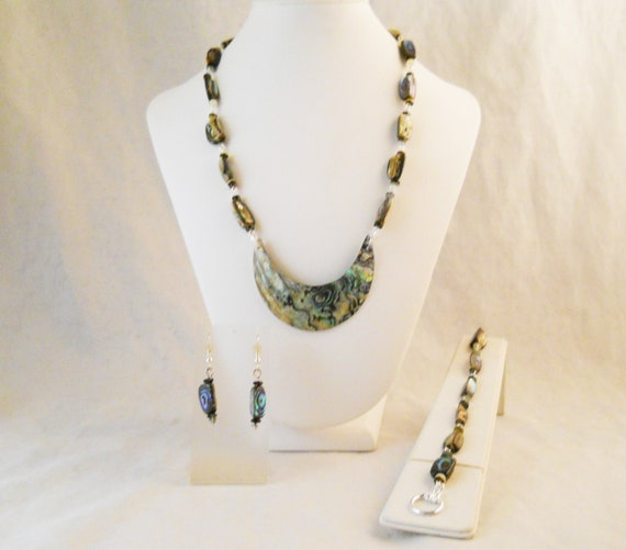 You Choose Necklace Length Silver Plated You Choose Closure Style 50x35mm Rectangle Focal Nugget Paua Shell Jewelry Set