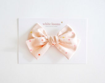 Spring Bows Large Hair Bow in Evergreen Floral Hair Bows Hair Accessories Bows for Girls Hair Clips Pink Bows Easter Bows