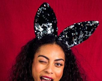 Black Silver Sequin Bunny Ears Headband, Hen Party Costume, Festival Accessory Rabbit Ears | Sparklebutt