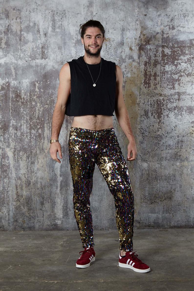 e12def2cfd05 Burning Man Leggings Rainbow Sequin Meggings Mens Festival