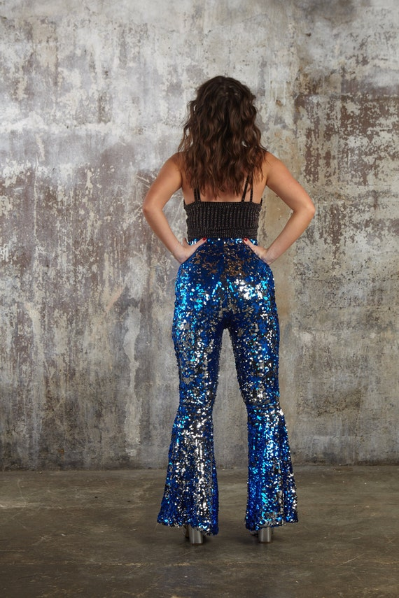 9d77766c2a66f0 Burning Man Sequin Flares Blue Silver Sequin Bell Bottoms | Etsy