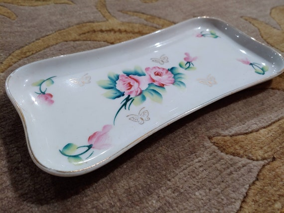 Antique Hand Painted Porcelain Coin Tray, Ring Dis