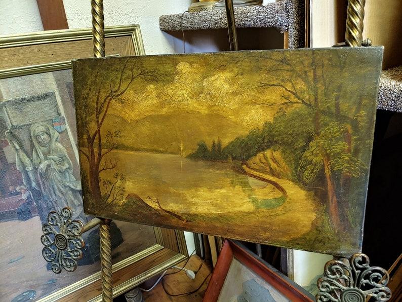 Fine Art J Falrey Beautiful Signed Oil Landscape Unframed 20 X 12