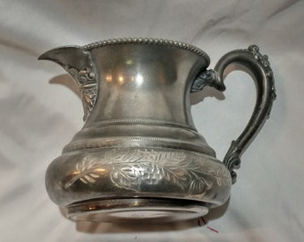"Forbes Silver Company Quadruple Plate Silver Creamer Pitcher number 180 3.5"" tall by 3"" wide"
