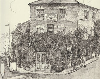 Art Print - 'The Faltering Fullback' pub, Finsbury Park, London Pub Edition of 30, A3 300gsm Matte paper hand signed and numbered.