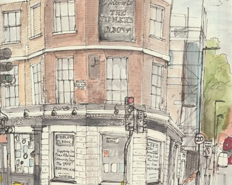 Art Print - 'The Fiddler's Elbow' pub, Chalk Farm, London Pub Watercolour Edition of 30, A4 300gsm Matte paper hand signed and numbered.