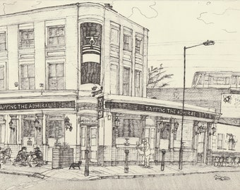Art Print - 'Tapping The Admiral' pub, Kentish Town, London Pub Edition of 30, A3 300gsm Matte paper hand signed and numbered.