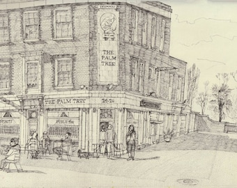 Art Print, 'The Palm Tree' pub, A3 edition of 30. East London