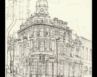 Art Print, 'The Boston' Pub, A4 edition of 30, Digital Print, London Art, hand signed and numbered