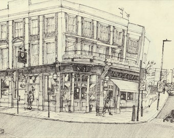 Pub Art Print - 'The Grafton', Kentish Town, Edition of 30, A4 landscape, hand signed and numbered.