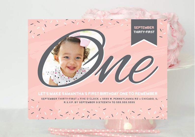 First Birthday Invite Turning One One Year Birthday Party One Year Old 1st Birthday Invitation Little Girls Birthday Card