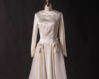 Silk and Tulle 60s Wedding Dress