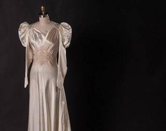 1930s Silk Wedding Gown