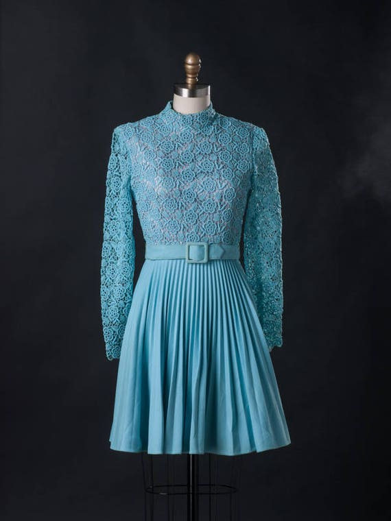 Vintage 1960s Blue Pleated Skirt Mini Dress w/ Lac