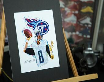 Marcus Mariota  8 - Unique Artwork - Tennessee Titans - 3D Effect - Sports  Art Print - Modern Art Poster b4d426e1b