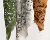 NEW Classic Patterned Raw Silk Bandana scarf