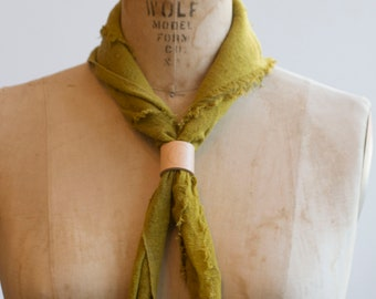 Gold + Yellow Naturally Dyed Solid Yellow Raw Silk Bandana/scarfs