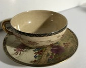 Satsuma Antique Hand-Painted Japanese Satsuma Cup and Saucer