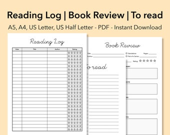 reading journal printable books to read book diary reading tracker student planner bookish reading log reviews reading planner download