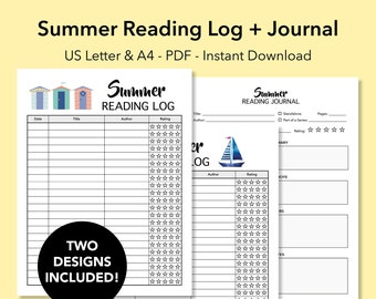 summer reading log book journal reading tracker reading journal printable book reviews list and notes student book diary instant download
